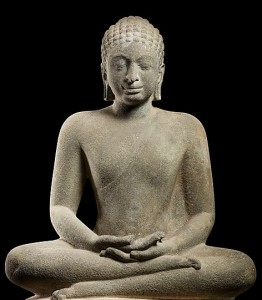 Buddha in Meditation, late 6th–mid- 7th century Southern Thailand, Sandstone; H. 41 5/16 in. (105 cm); W. est. 23 1/4 in. (59 cm); D. 14 15/16 in. (38 cm); approx. Wt. 1349.2 lbs (612 kg) The Metropolitan Museum of Art, New York, (LK.047) http://www.metmuseum.org/Collections/search-the-collections/77532